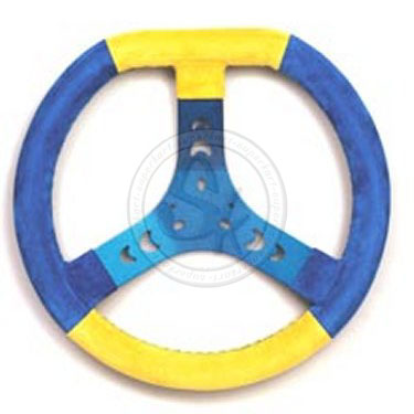 Steering Wheel Covered Blue/Yellow 320S Flat Top - Spoke In Blue