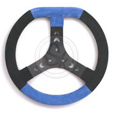 Steering Wheel Cov. Blue/Black 320S Flat Top - Spoke In Black