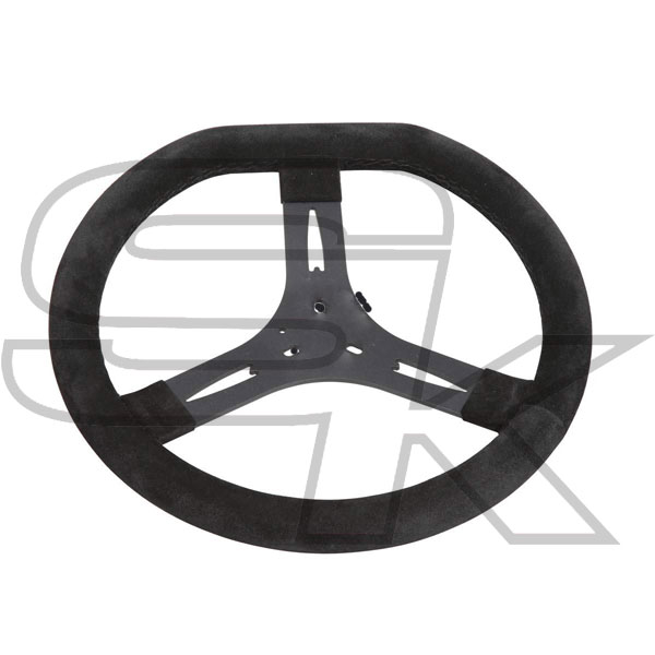 Steering Wheel Cov. In Suede 340mm - Flat Top - Spoke In Black